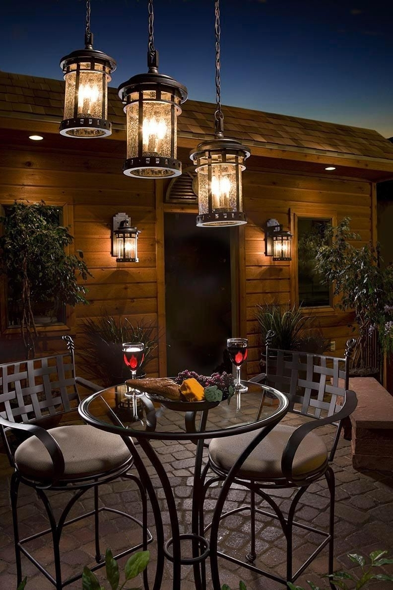 Best And Newest Hanging Outdoor Light On Rod Throughout Outdoor Dinner For Two (View 3 of 20)