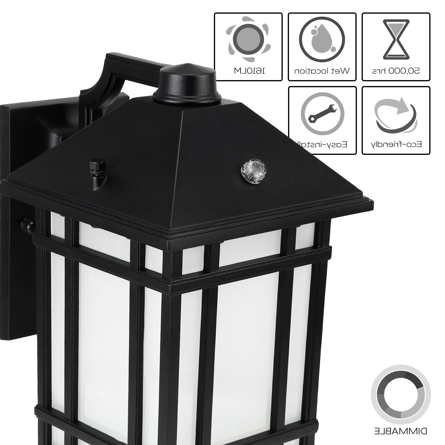 Best And Newest Led Outdoor Wall Lantern With Dusk To Dawn Photocell, 23W (130W Within Dusk To Dawn Led Outdoor Wall Lights (Gallery 9 of 20)