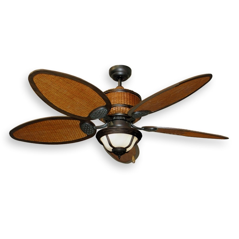 Best And Newest Outdoor Ceiling Fans With Tropical Lights Inside Tropical Ceiling Fans With Palm Leaf Blades, Bamboo, Rattan And More (View 8 of 20)