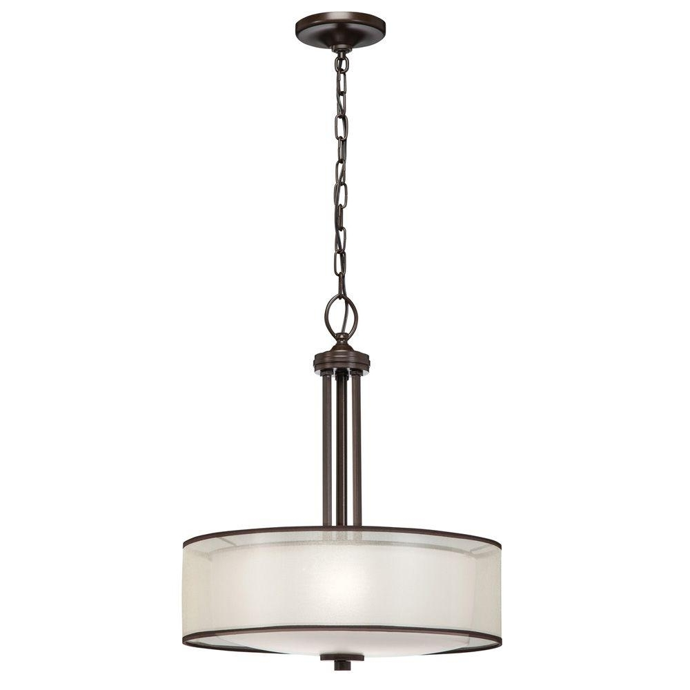 Best And Newest Outdoor Ceiling Lights At Rona Regarding Hampton Bay 3 Light Bronze Pendant With Organza Shade 89549 – The (View 14 of 20)
