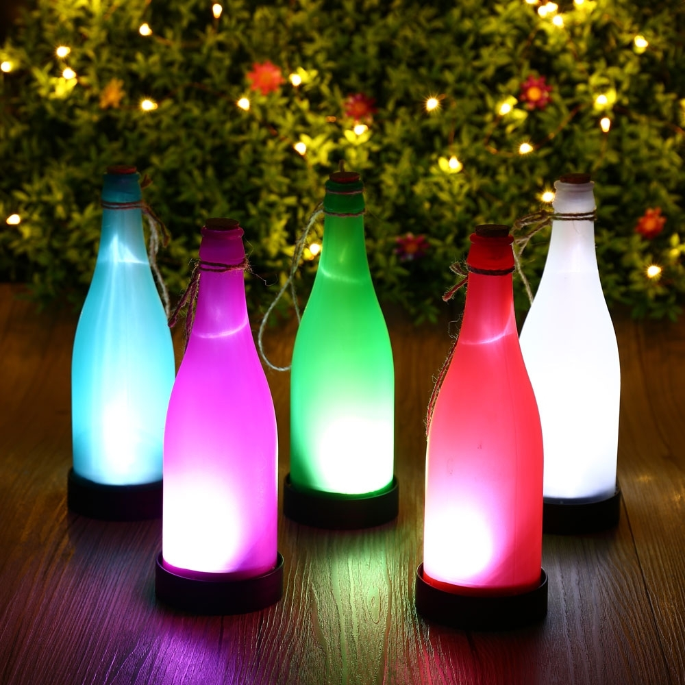 Best And Newest Outdoor Hanging Bottle Lights With Regard To Hot 5pcs Plastic Led Solar Wine Bottle Lights Garden Hanging Lamp (View 10 of 20)