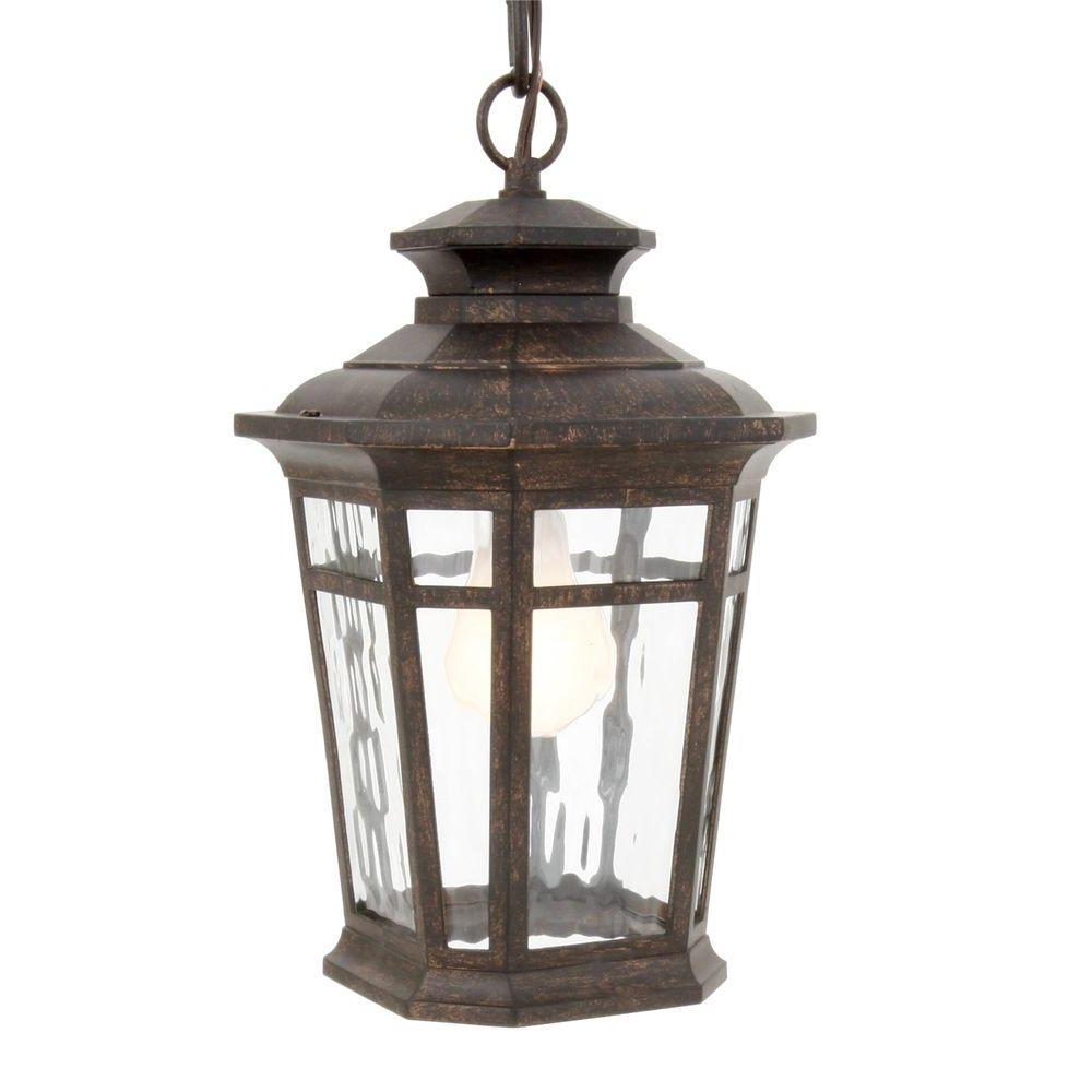 Best And Newest Outdoor Hanging Lanterns Candles Pertaining To Hampton Bay Waterton Collection 1 Light Dark Ridge Bronze Outdoor (Gallery 13 of 20)