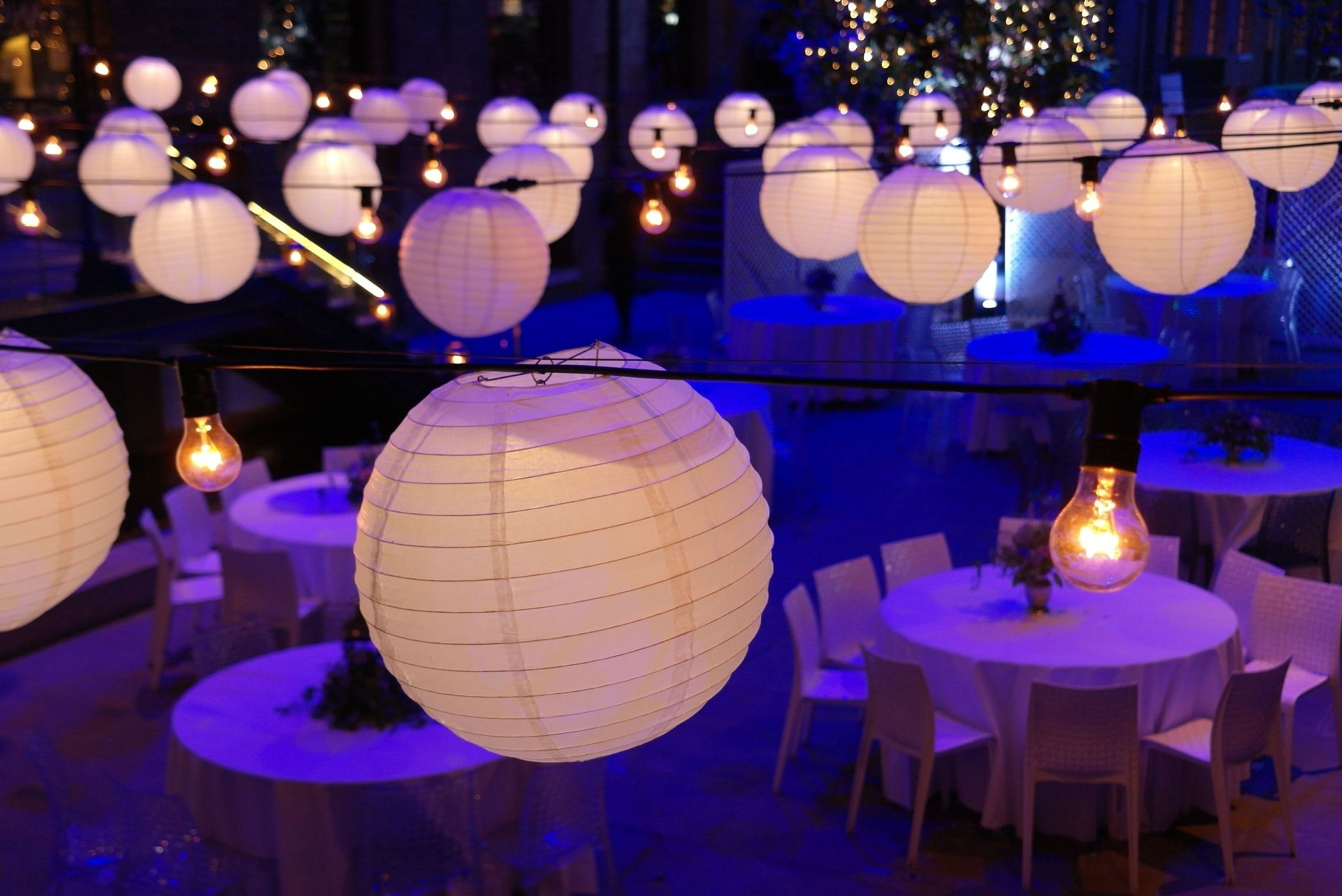 Best And Newest Outdoor Hanging Paper Lantern Lights Within Astonishing Decoration White Theme Hanging Paper Lantern Lights For (View 10 of 20)
