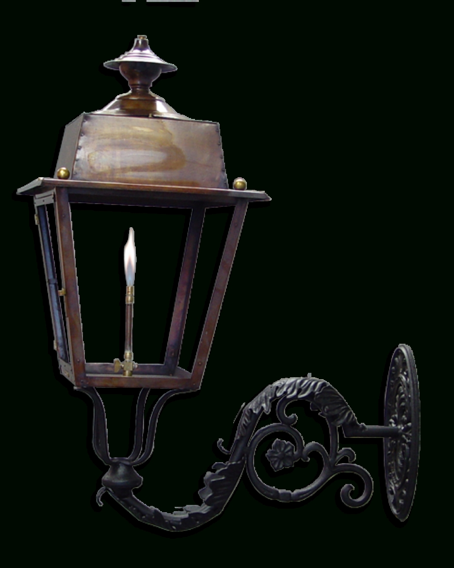Best And Newest Outdoor Wall Mount Gas Lights For Accessories: Magnificent Wall Mounted Copper Frame Gas Lantern (View 8 of 20)