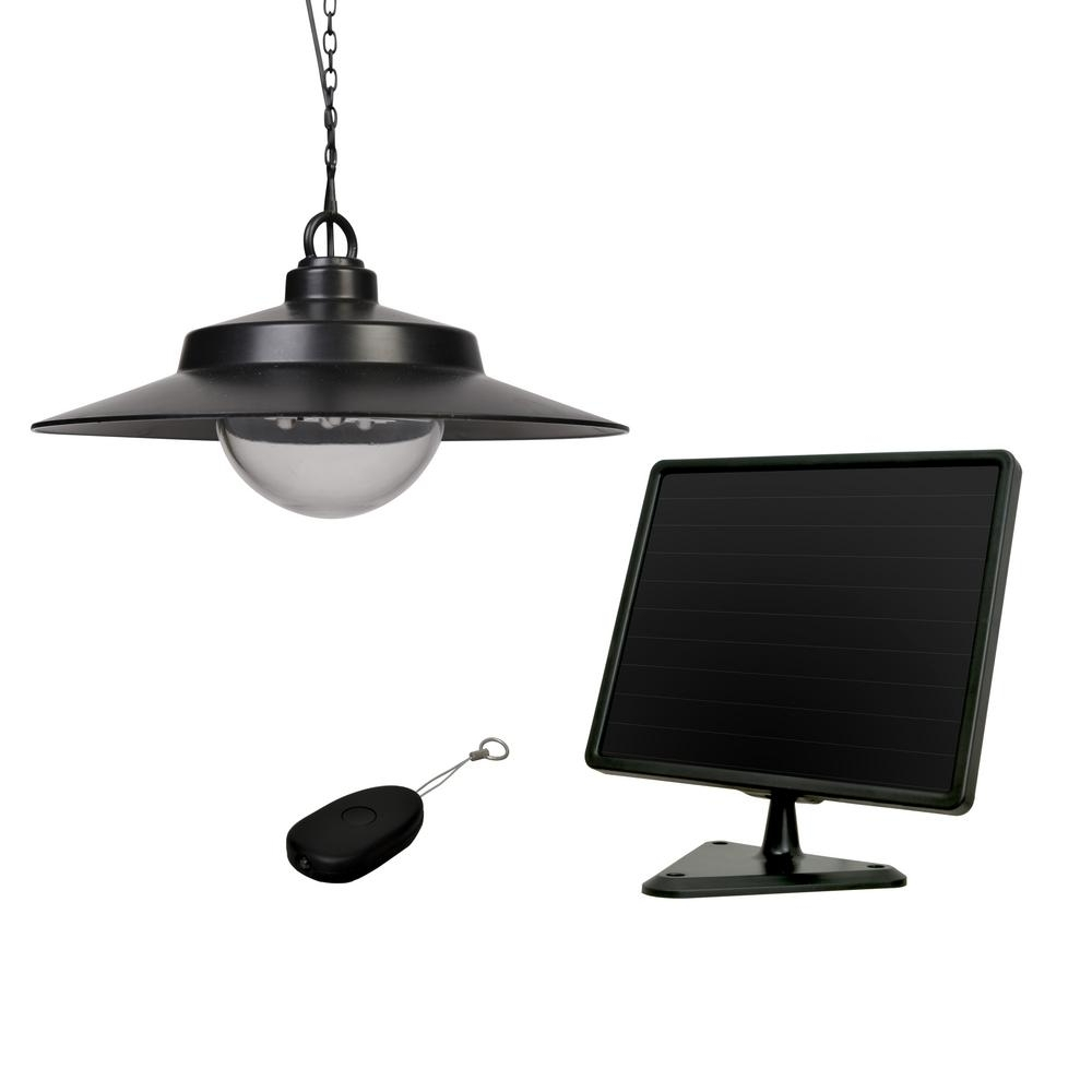 Best And Newest Sunforce Black Solar Hanging Light With Remote 81091 – The Home Depot Pertaining To Solar Outdoor Hanging Lights (Gallery 11 of 20)