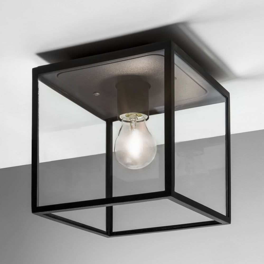 Black Outdoor Ceiling Lights Throughout Most Popular Astro Lighting 7389 Box Black Exterior Ceiling Light (View 2 of 20)