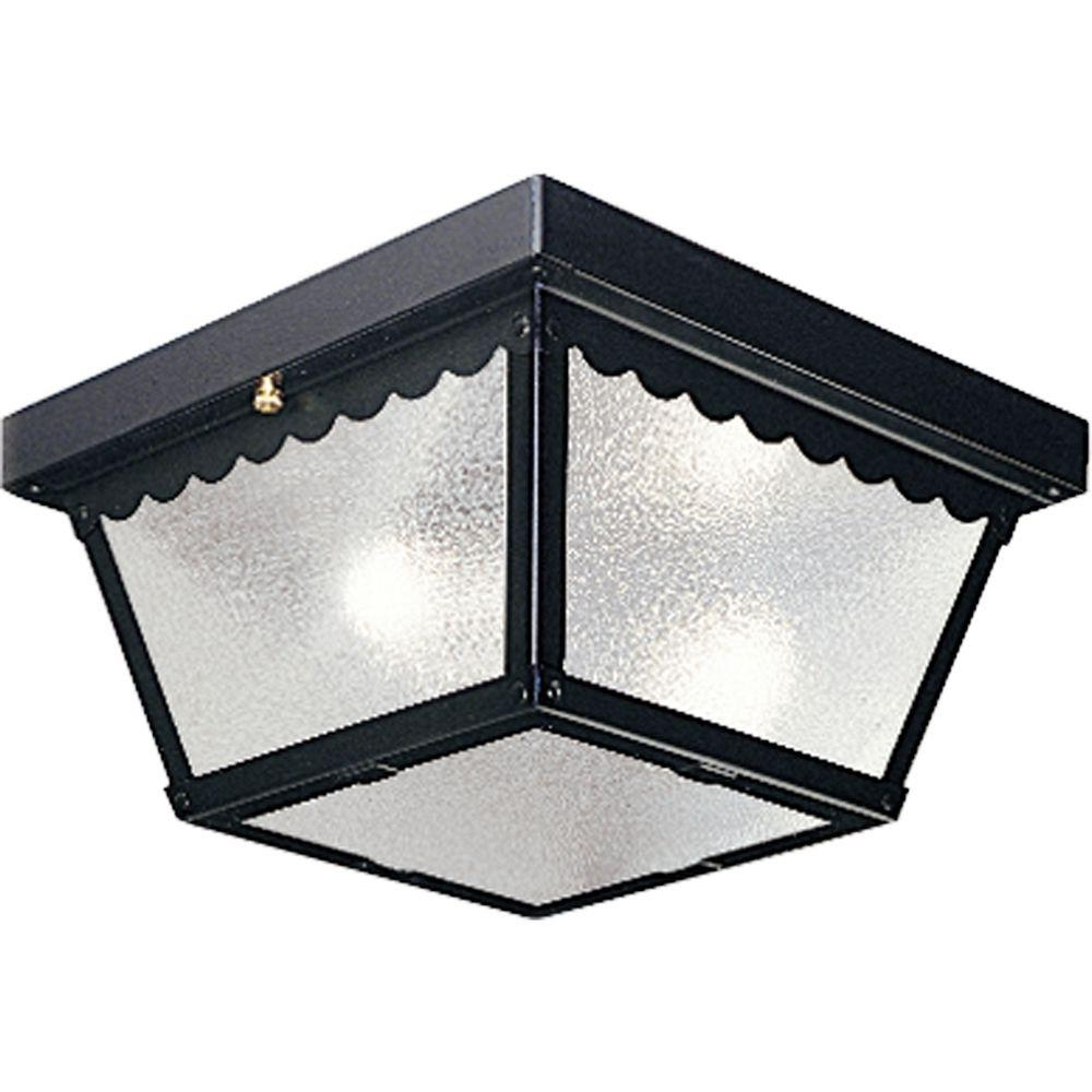 Black Outdoor Ceiling Lights With Regard To Most Recently Released Progress Lighting 2 Light Black Outdoor Flushmount P5729 31 – The (View 4 of 20)