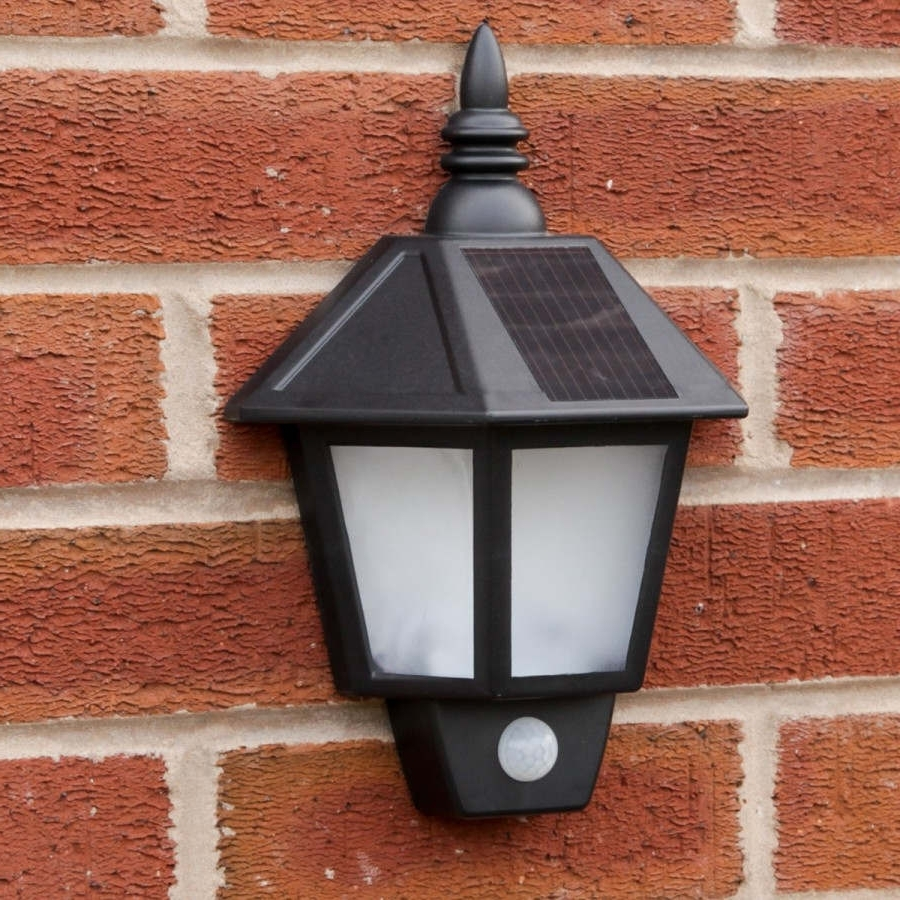 Black Outdoor Solar Security Welcome Wall Light With Pir (View 16 of 20)
