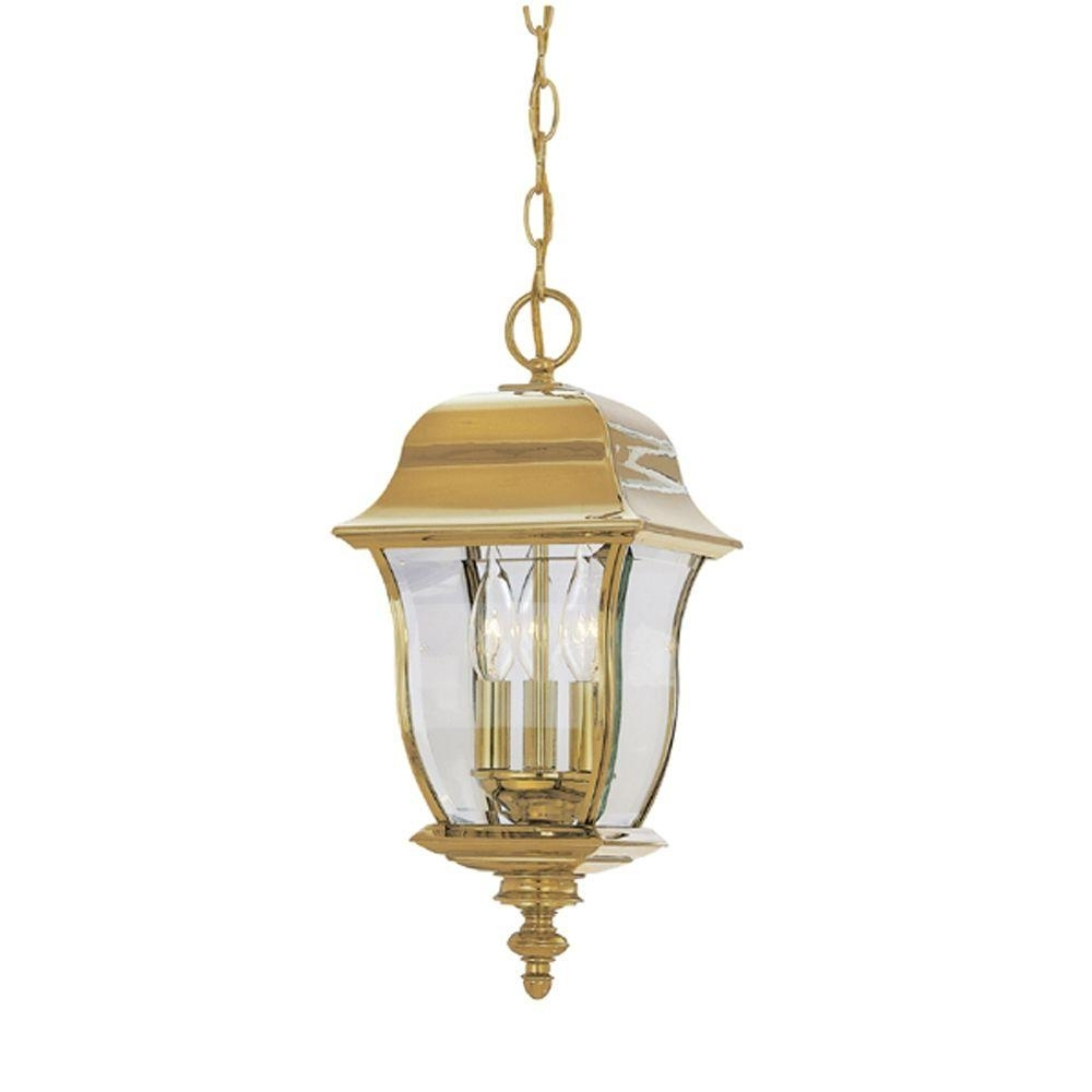 Brass Outdoor Ceiling Lights In 2019 Designers Fountain Oak Harbor Polished Brass 3 Light Outdoor Hanging (View 2 of 20)