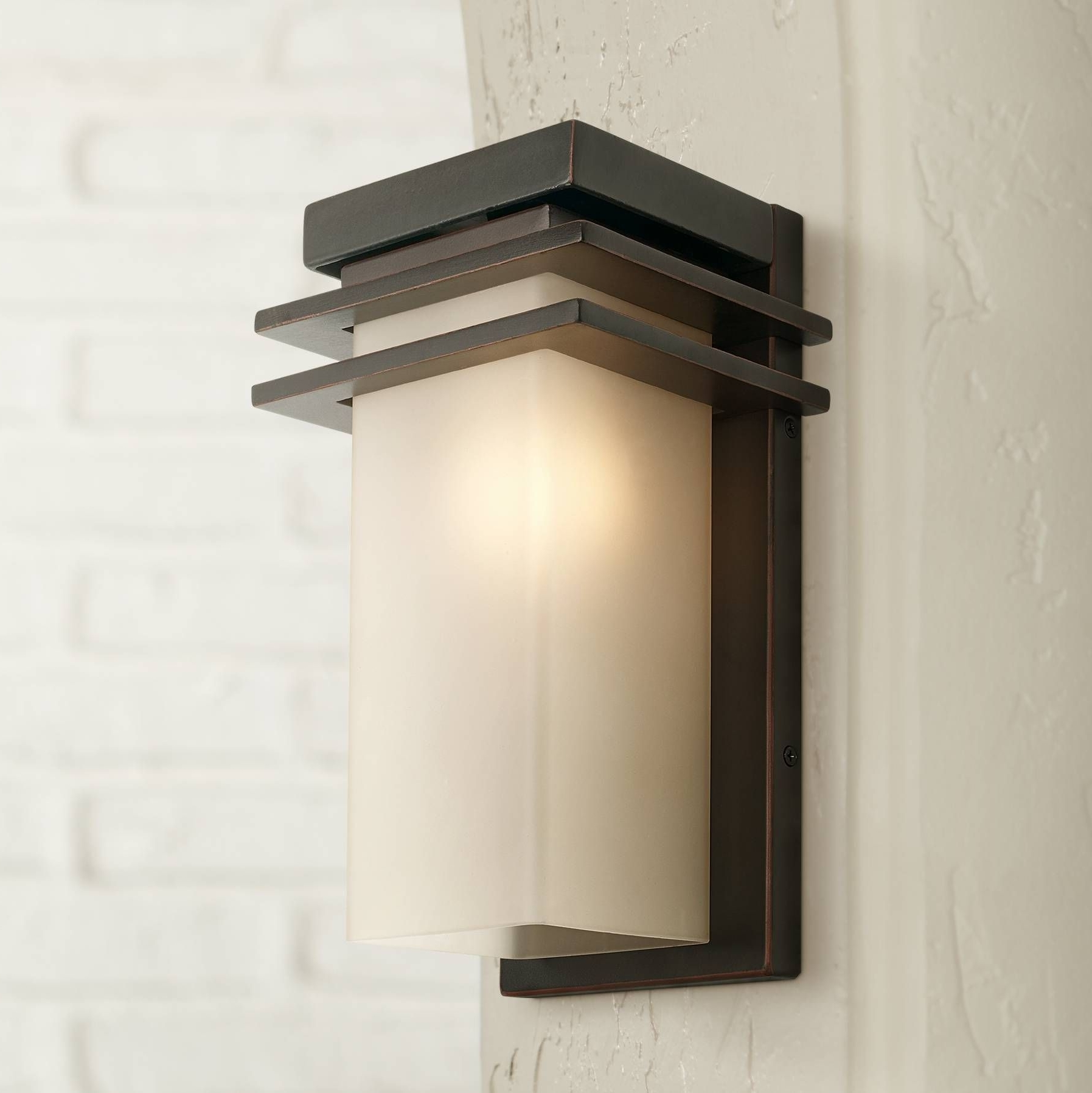 "Bronze And Opal 12"" High Rectangle Outdoor Wall Light (Gallery 10 of 20)"