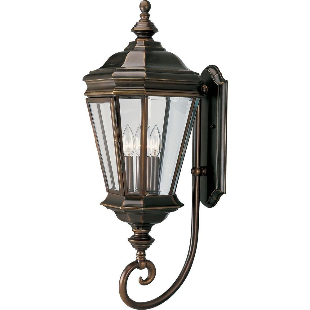 Bronze Outdoor Wall Lights Inside Well Known Progress Lighting Crawford Collection 3 Light Oil Rubbed Bronze (View 7 of 20)