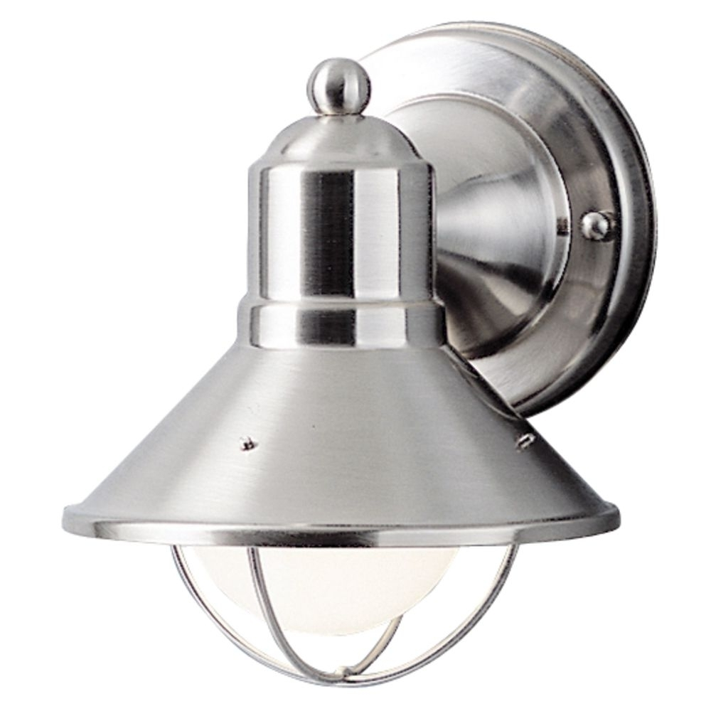 Brushed Nickel Outdoor Ceiling Lights Intended For Favorite Kichler Nautical Outdoor Wall Light In Brushed Nickel (View 16 of 20)