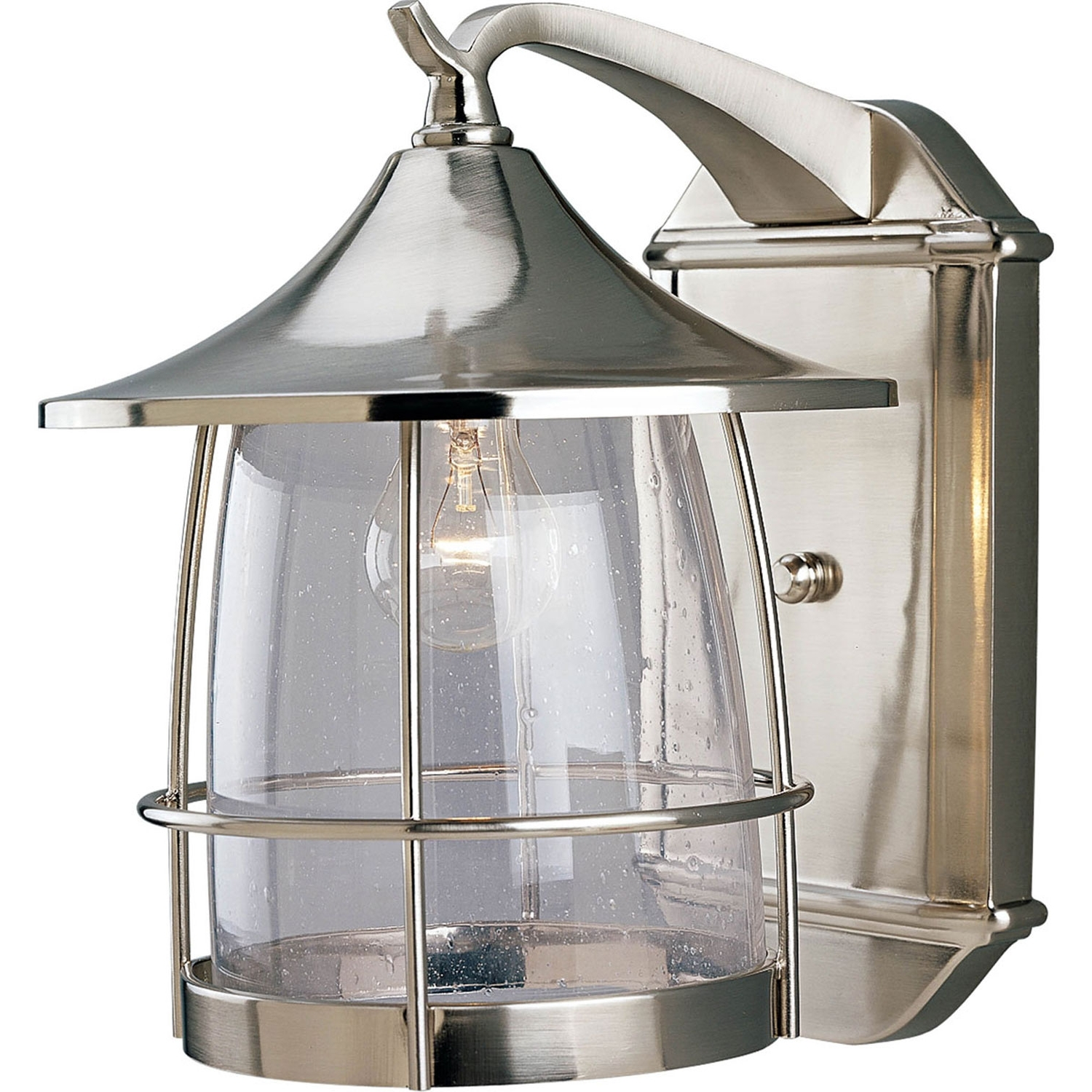 Brushed Nickel Outdoor Wall Lighting Inside Most Recent P5764 09: Prairie Brushed Nickel One Light Outdoor Wall Lantern (View 13 of 20)