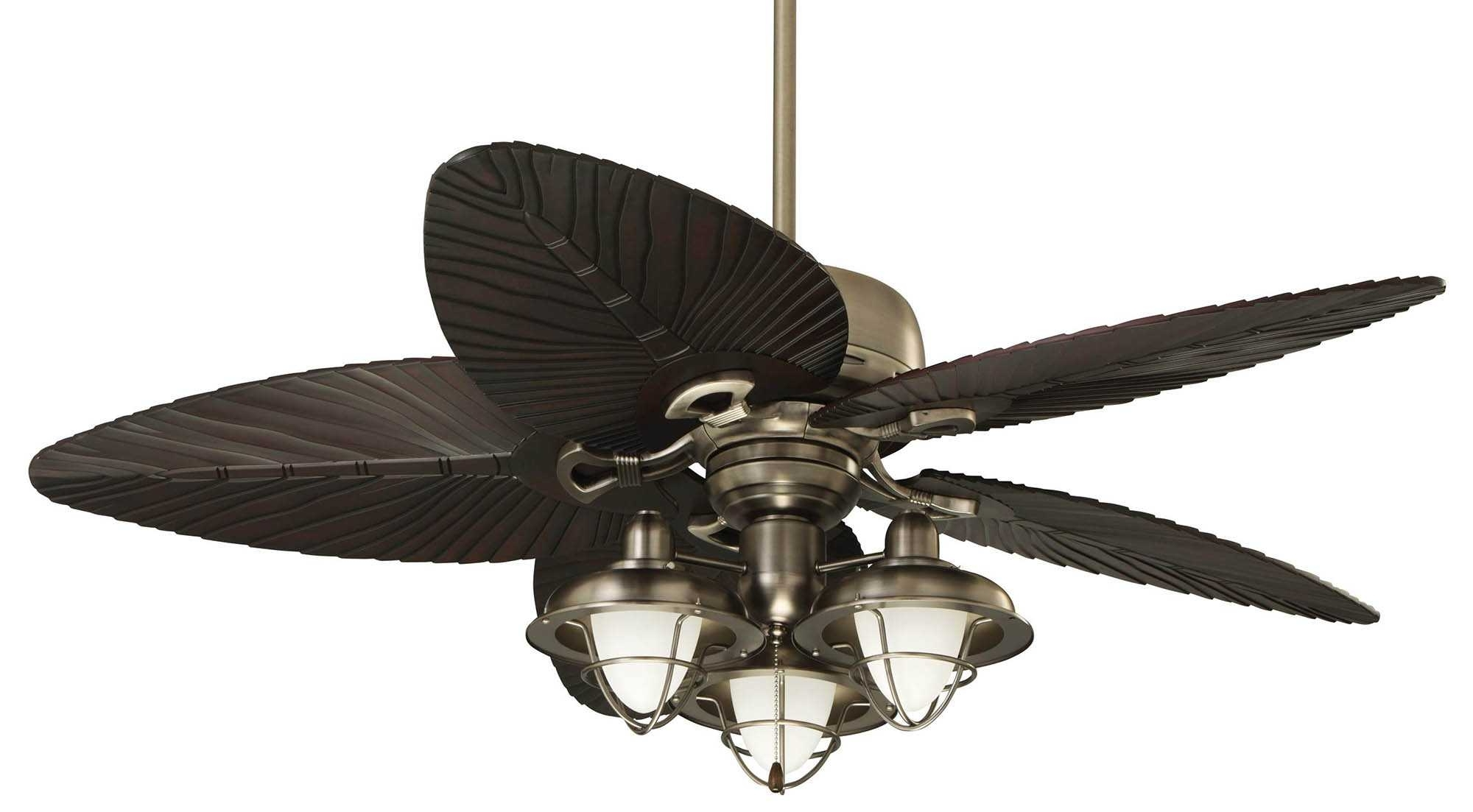 Ceiling Fan ~ Tropical Outdoor Ceiling Fans Withts Gallery Palm Leaf Regarding Most Current Outdoor Ceiling Fans With Tropical Lights (Gallery 11 of 20)