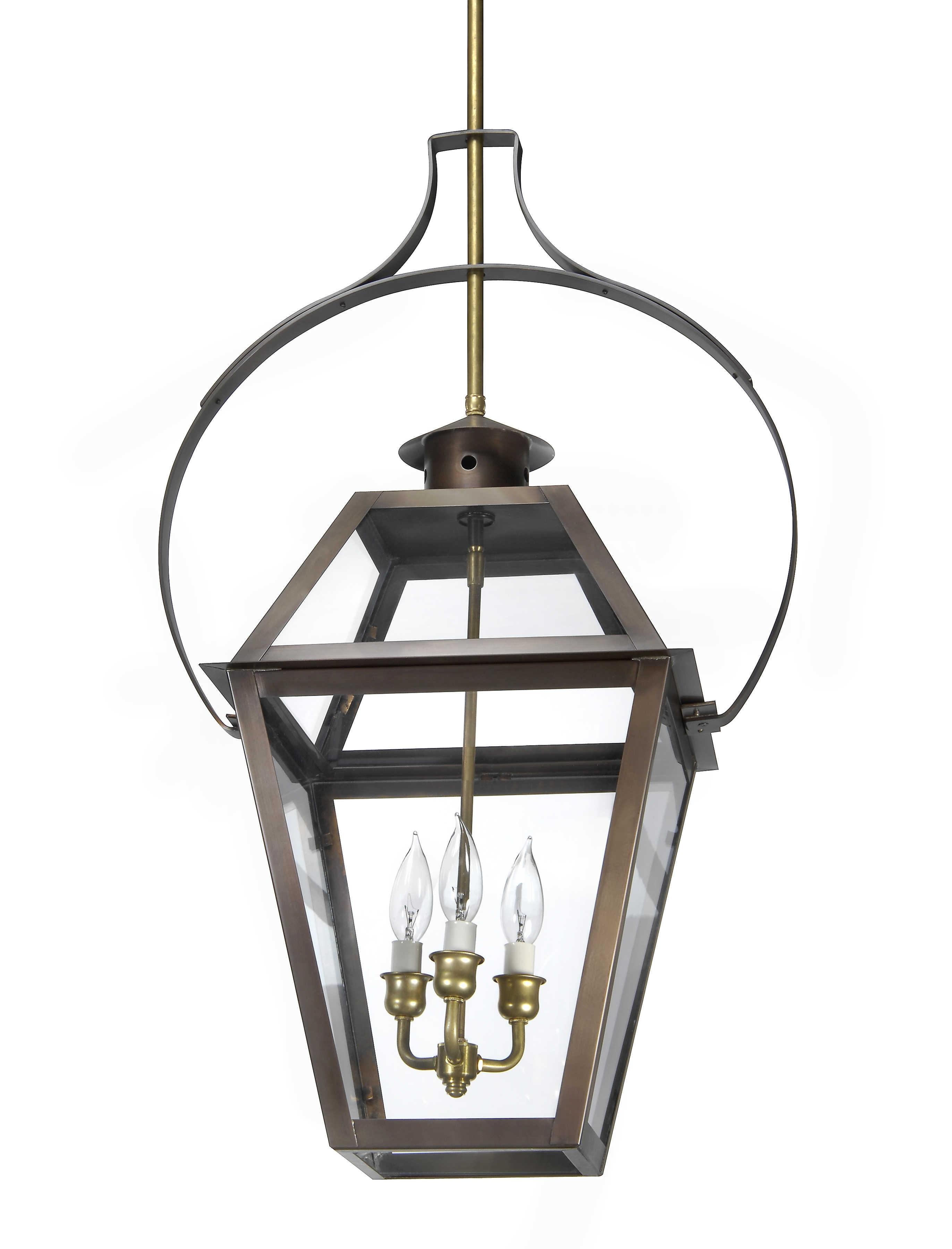 Ch 23 Hanging Yoke Light– Lantern & Scroll (View 2 of 20)