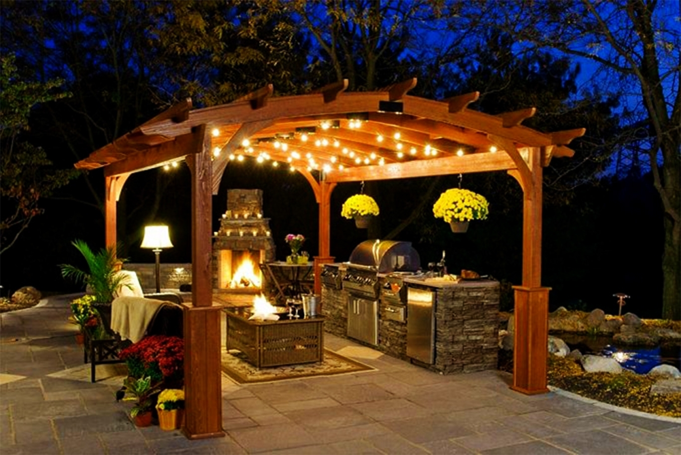 Chandeliers Design : Awesome Kitchen Fireplace Design Ideas Inspire For Trendy Outdoor Hanging Lights For Gazebos (View 5 of 20)