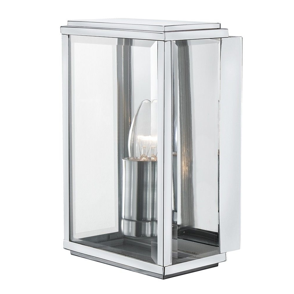Chrome Outdoor Wall Lighting Regarding Most Recently Released Searchlight 1 Light Satin Silver Rectangular Box Outdoor Wall Light (View 20 of 20)