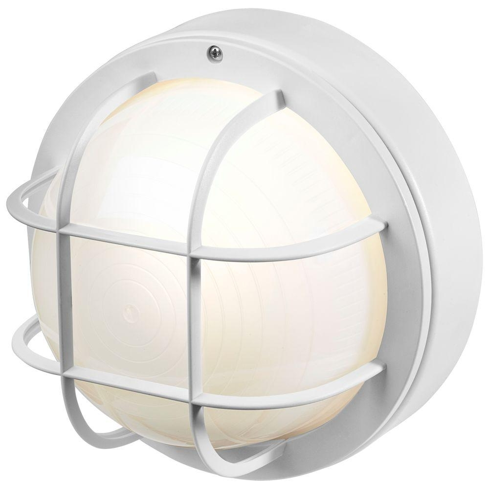 Coastal Outdoor Ceiling Lights For Well Known Newport Coastal 8 In. White Outdoor Incandescent Round Nautical (Gallery 17 of 20)