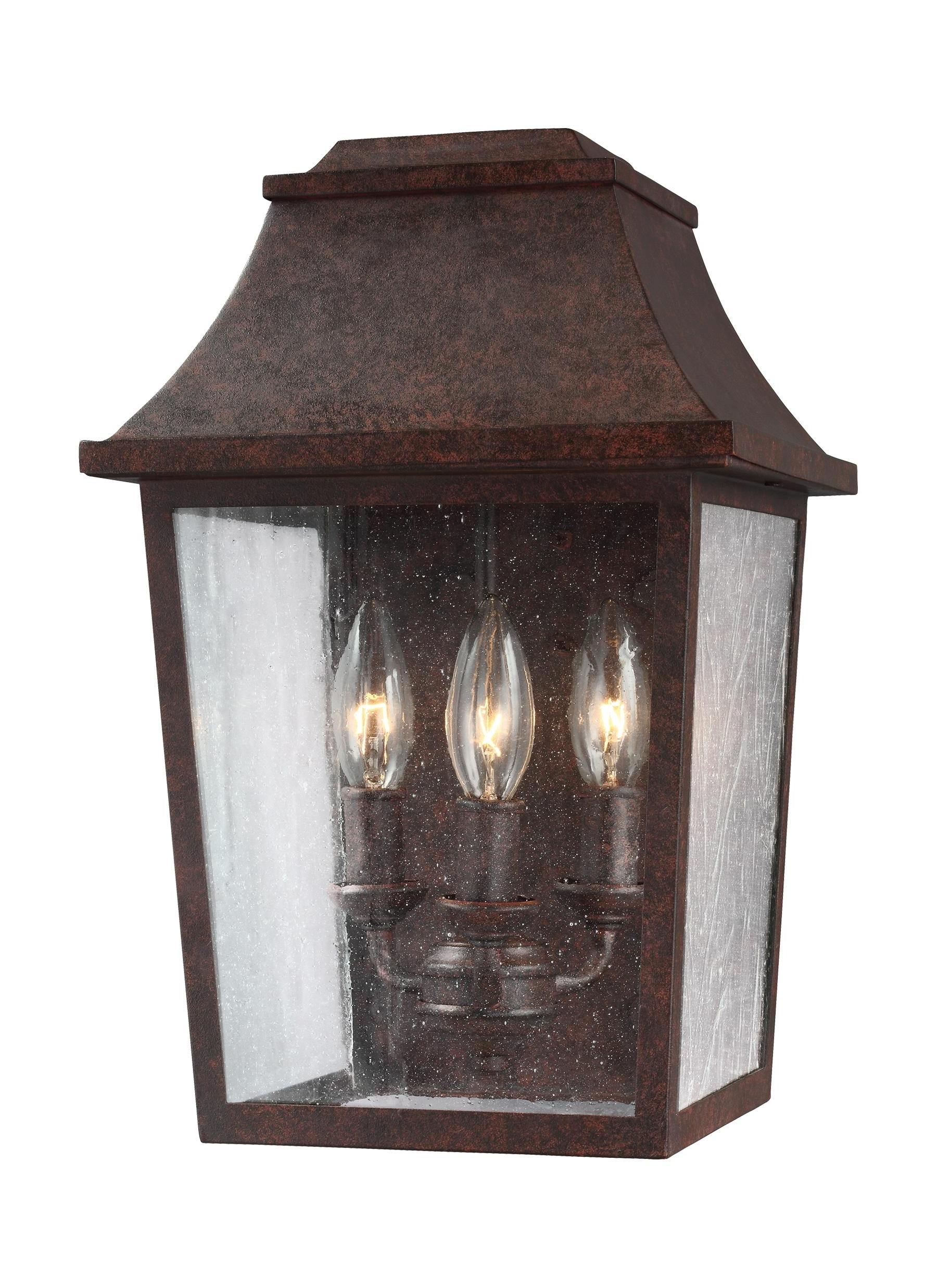 Copper Outdoor Ceiling Lights Throughout Current Ol11901Pcr,3 – Light Outdoor Wall Lantern,patina Copper (View 7 of 20)