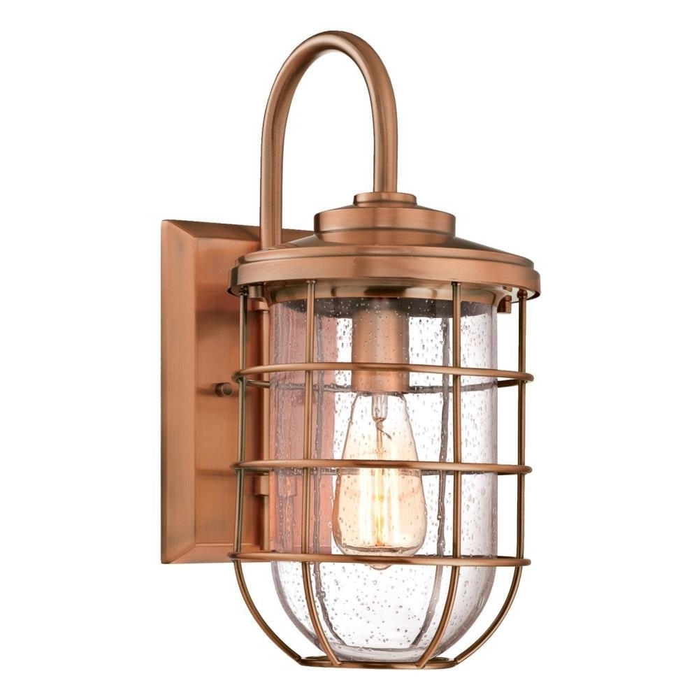 Copper Outdoor Wall Lighting Regarding Most Popular Westinghouse Ferry 1 Light Washed Copper Outdoor Wall Mount Lantern (View 5 of 20)