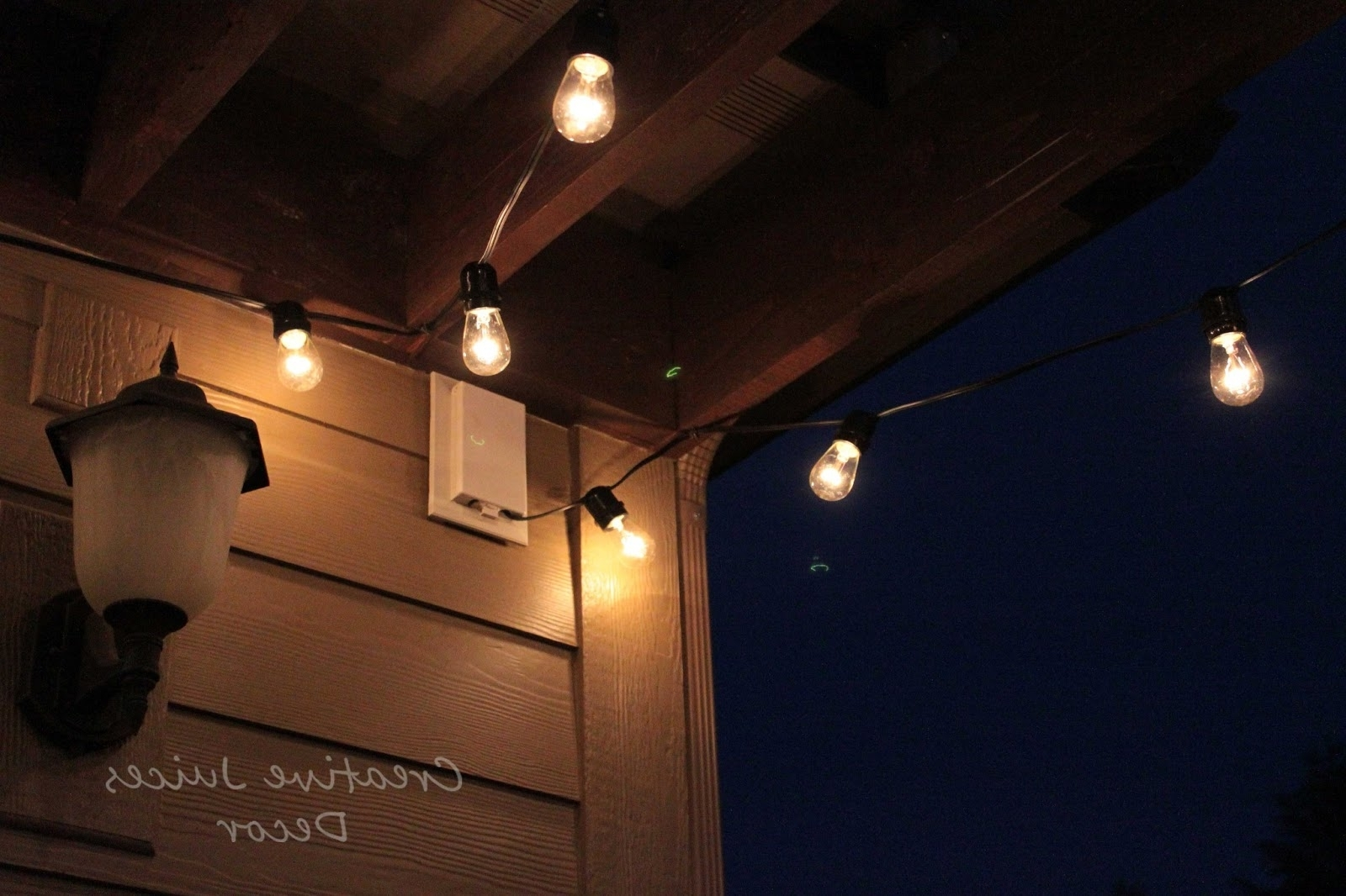 Creative Juices Decor: Adding String Patio Lights To The Pergola Regarding Current Solar Hanging Outdoor Patio Lights (View 12 of 20)