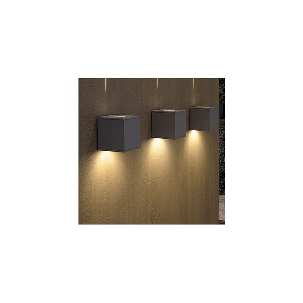 Current Grey Outdoor Wall Lights Inside Intalite 229604 Silver Grey Big Theo Beam Outdoor Wall Light At (View 4 of 20)