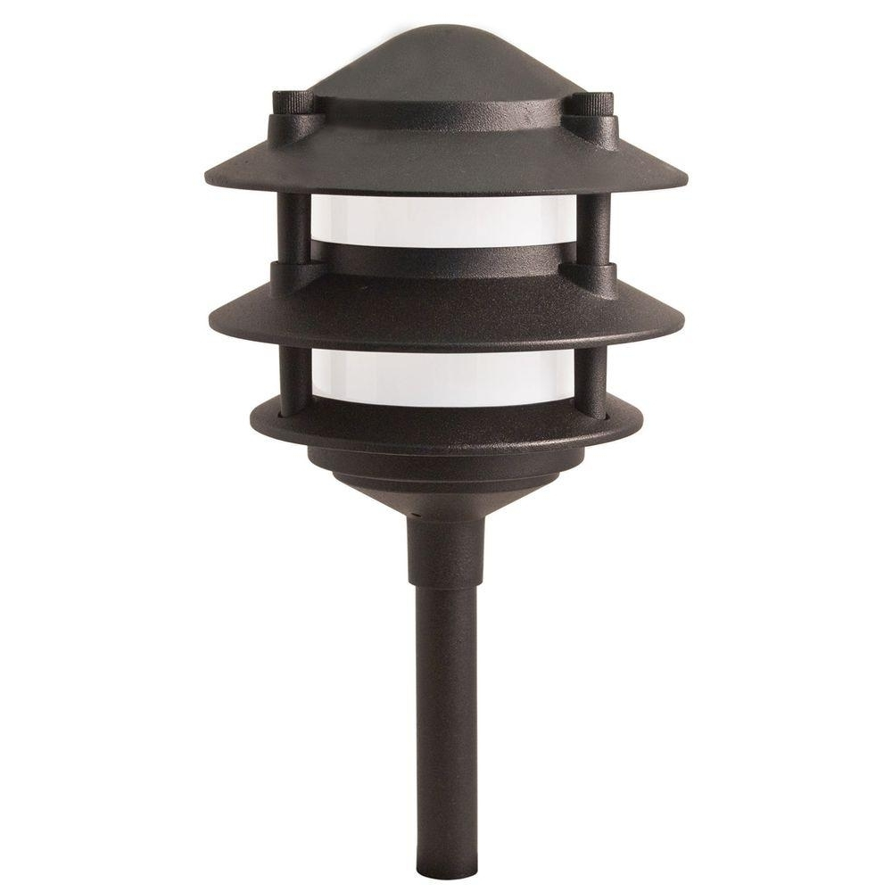Current Hampton Bay Low Voltage 11 Watt Black Outdoor Incandescent 3 Tier Throughout Modern Landscape Lighting At Home Depot (View 17 of 20)