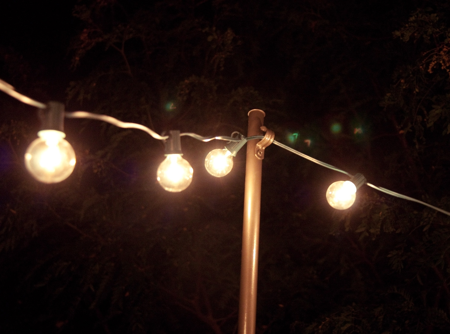 Current Inexpensive Outdoor Hanging Lights Pertaining To Bright July: {diy}: Outdoor String Lights (View 5 of 20)