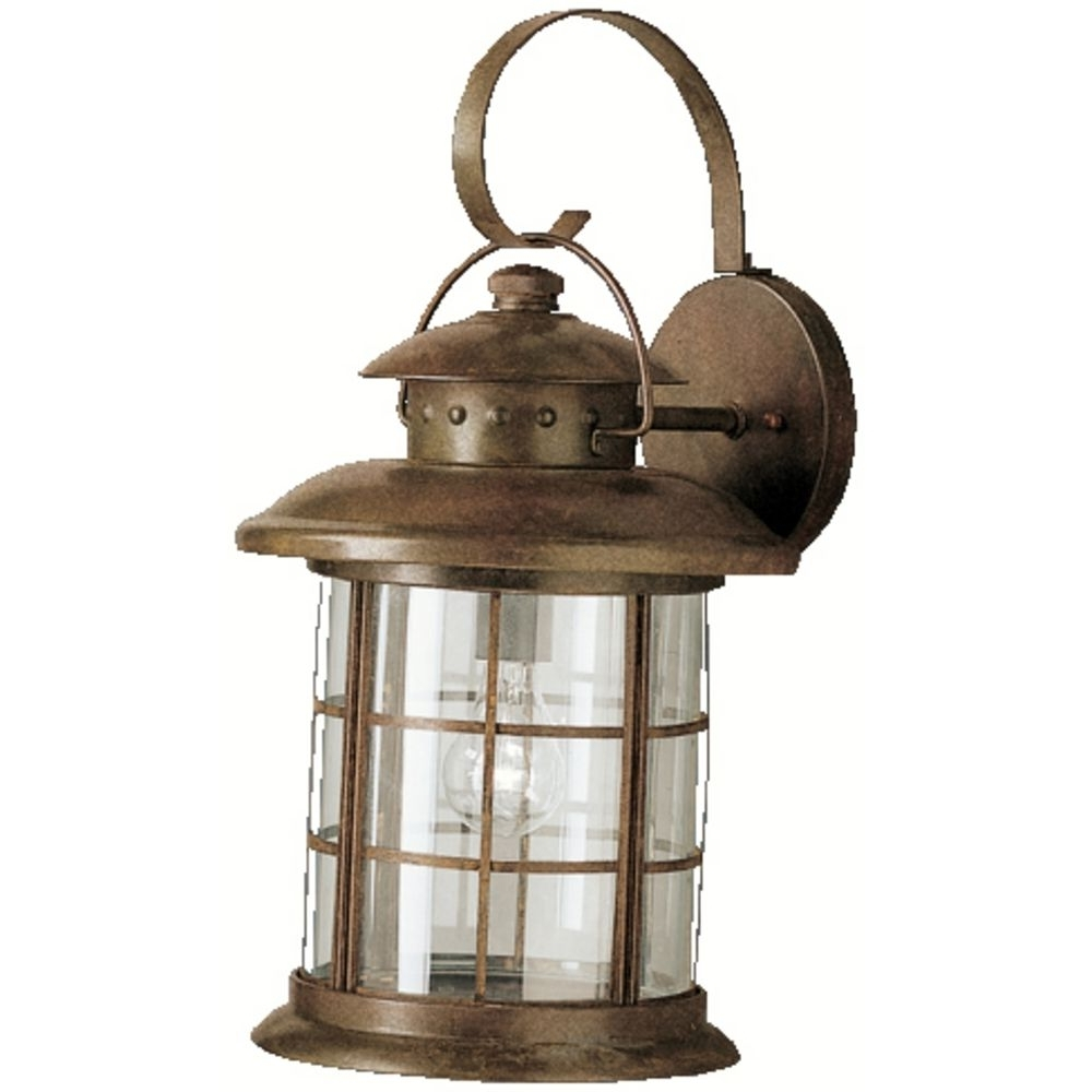 Current Kichler Outdoor Wall Light With Clear Glass In Rustic Finish Regarding Kichler Outdoor Lighting Wall Sconces (View 2 of 20)