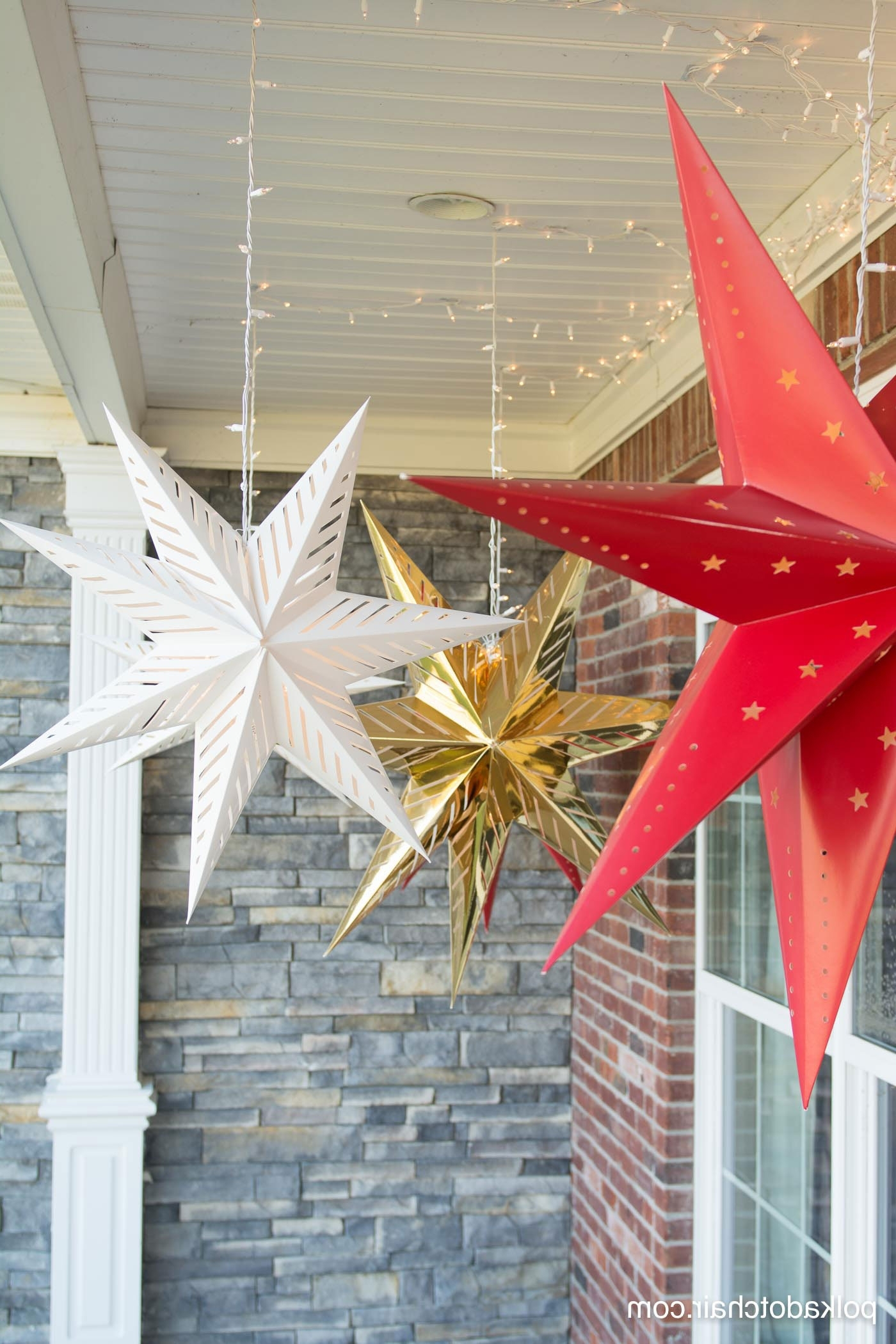 Current Outdoor Hanging Star Lanterns Within Hanging Star Lanterns; A Christmas Front Porch Decorating Idea – The (Gallery 2 of 20)