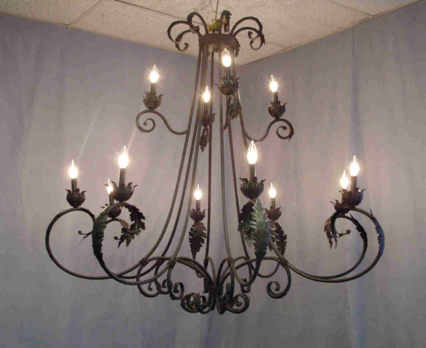 Current Outdoor Iron Hanging Lights Intended For Wrought Iron & Antler Chandeliers & Lighting Rustic, Tuscan, Antique (Gallery 20 of 20)