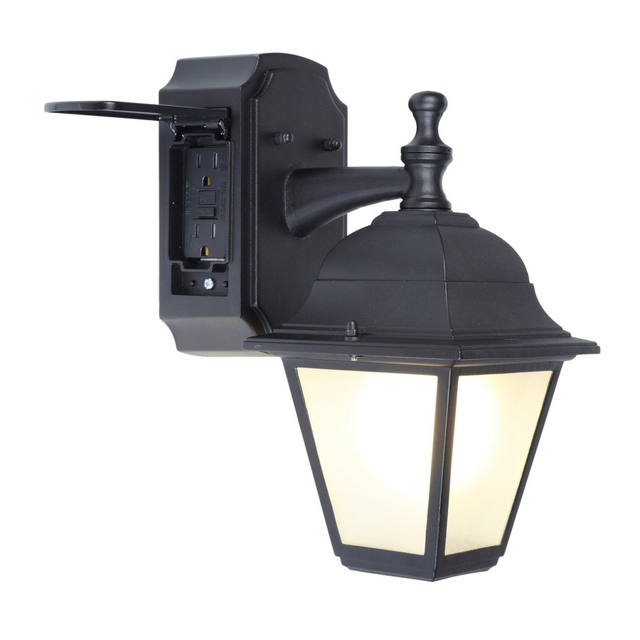 Current Outdoor Wall Lights With Receptacle Intended For Shop Portfolio Gfci 11.81 In H Black Outdoor Wall Light At Lowes (Gallery 2 of 20)