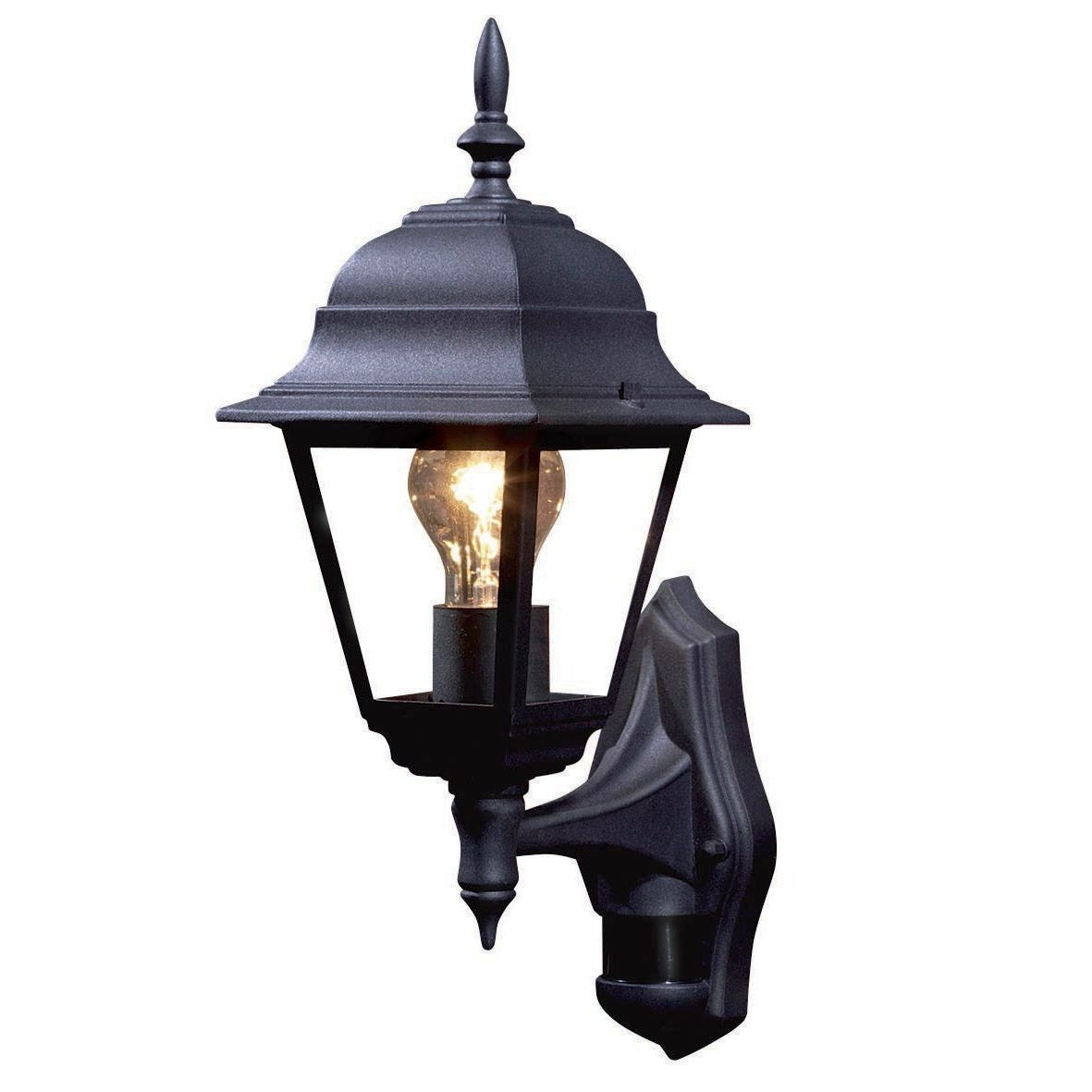 Current Polperro Black 60W Mains Powered External Pir Lantern (View 2 of 20)