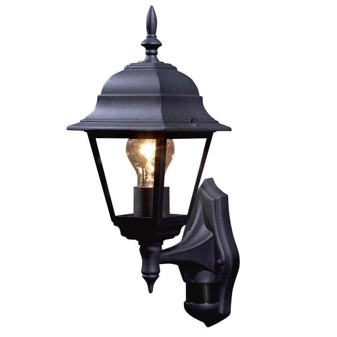 Current Polperro Black 60W Mains Powered External Pir Lantern (Gallery 2 of 20)