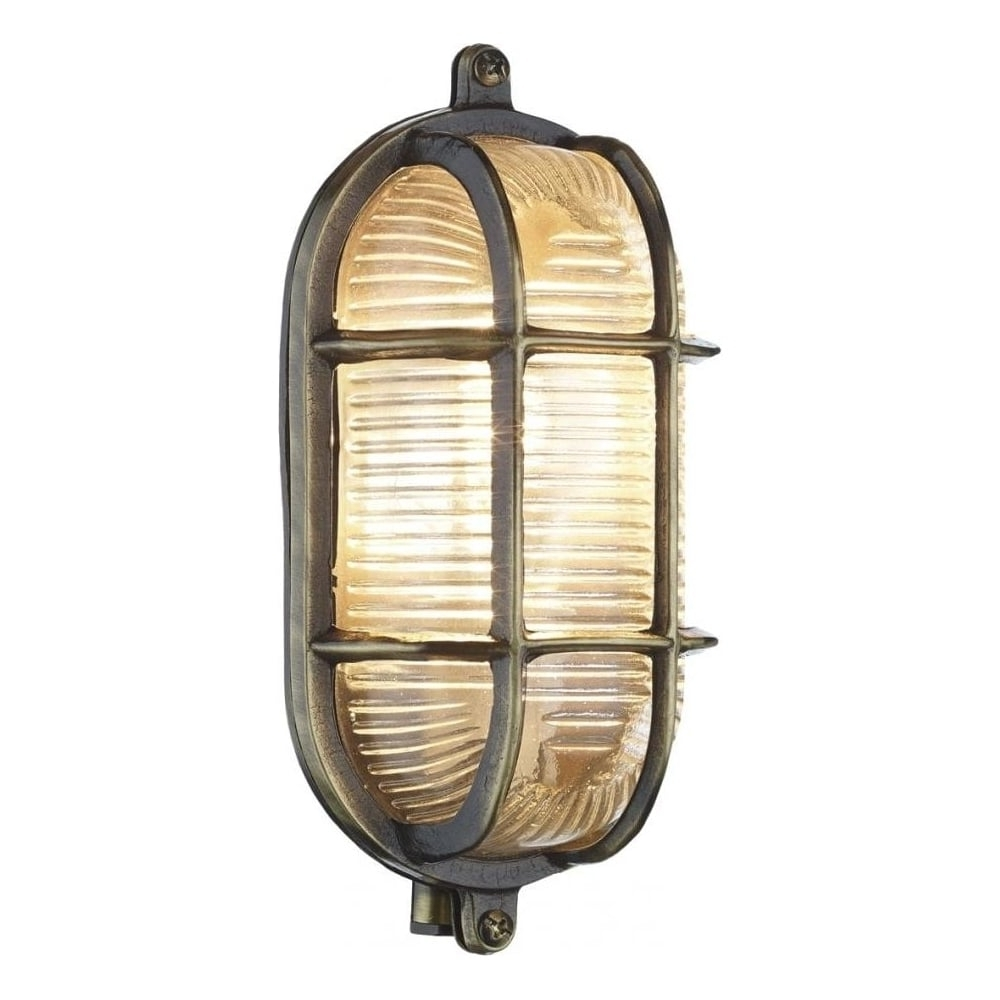 David Hunt Lighting Admiral Small Oval Antique Brass Outdoor Wall With Fashionable Brass Outdoor Wall Lighting (View 8 of 20)
