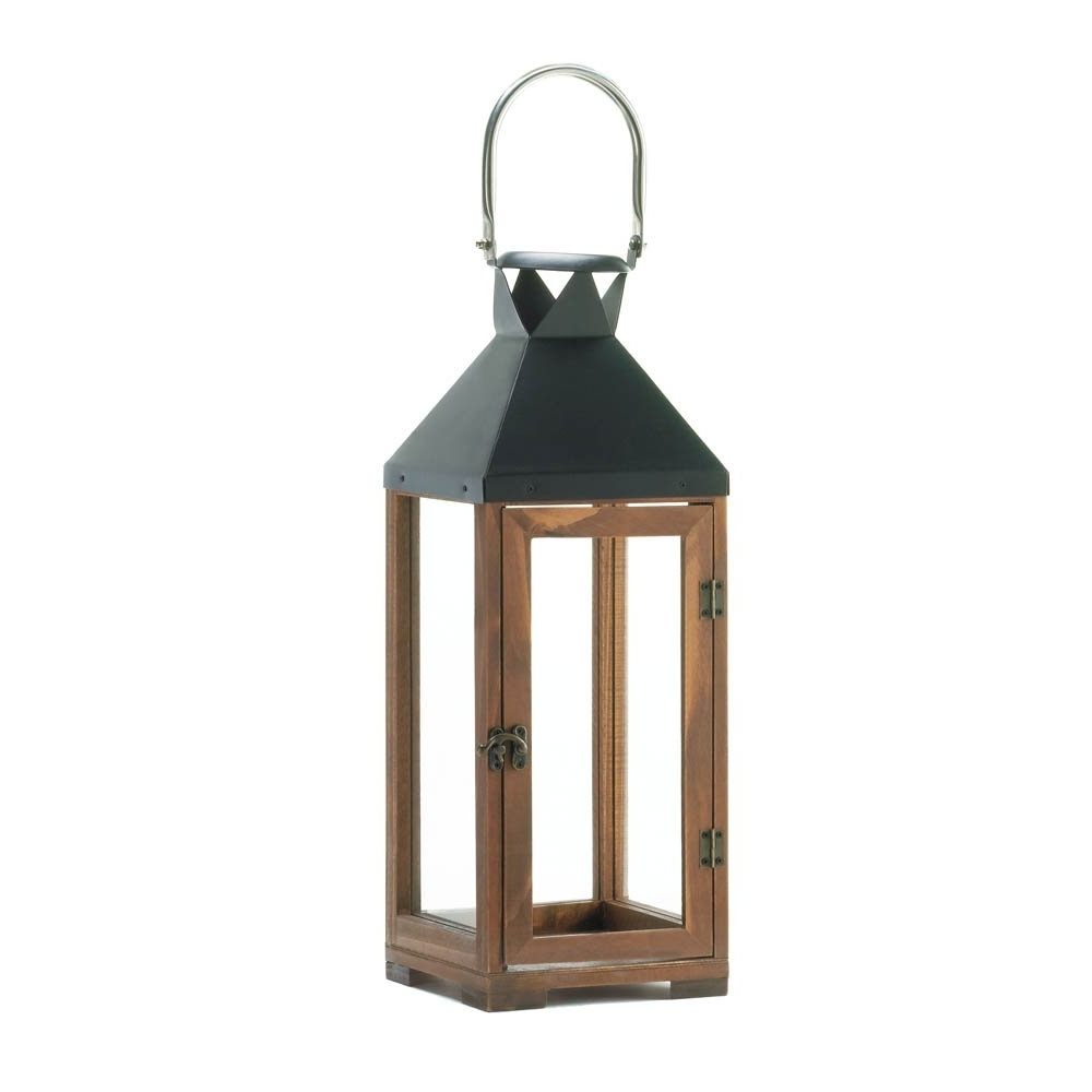 Decorative Candle Lanterns, Pine Wood Rustic Wooden Candle Lantern Pertaining To Well Liked Outdoor Hanging Candle Lanterns (View 5 of 20)