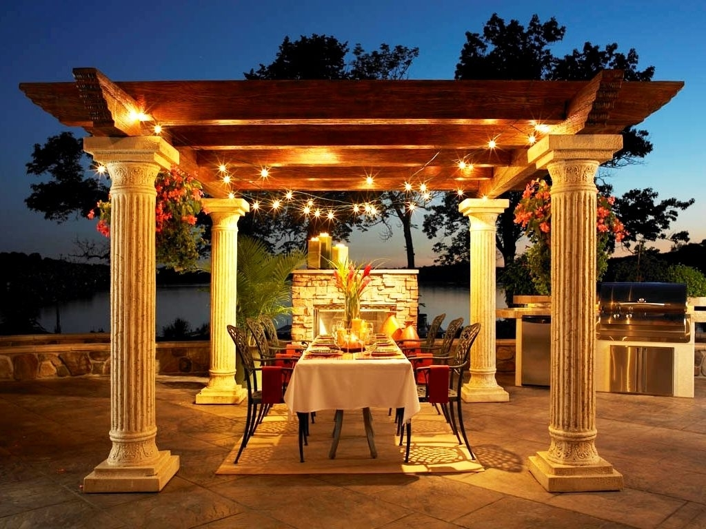 Deluxe Exterior Oak Wood Topper And Concrete Pillars Gazebo Throughout Most Recently Released Outdoor Hanging Lights For Gazebos (View 8 of 20)