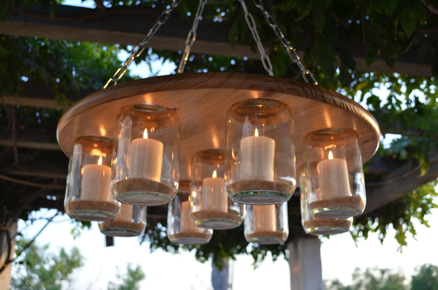 Diy Outdoor Hanging Lights Within 2019 Mason Jar Chandelier, Wedding, Patio Decor, Rustic Decor, Candle (Gallery 3 of 20)