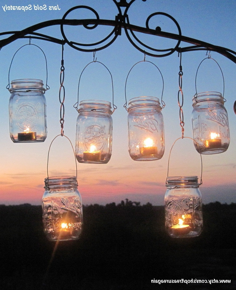 Diy Wedding Mason Jars Lanterns Hangers Diy Outdoor Party Hanging Inside Well Liked Outdoor Hanging Mason Jar Lights (View 3 of 20)