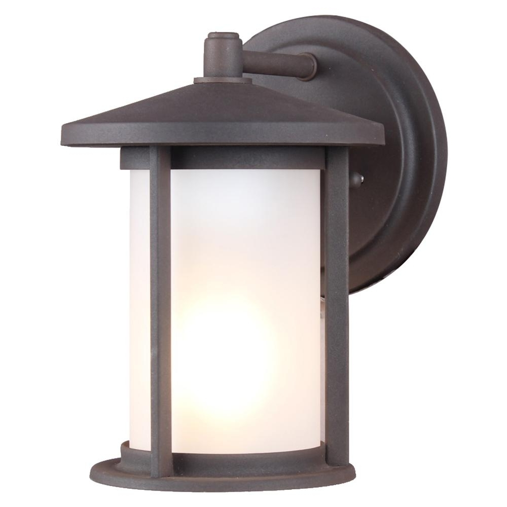 Dsi 1 Light Weathered Bronze Frosted Glass Outdoor Wall Mount Sconce Inside Popular Outdoor Wall Light Glass (View 3 of 20)