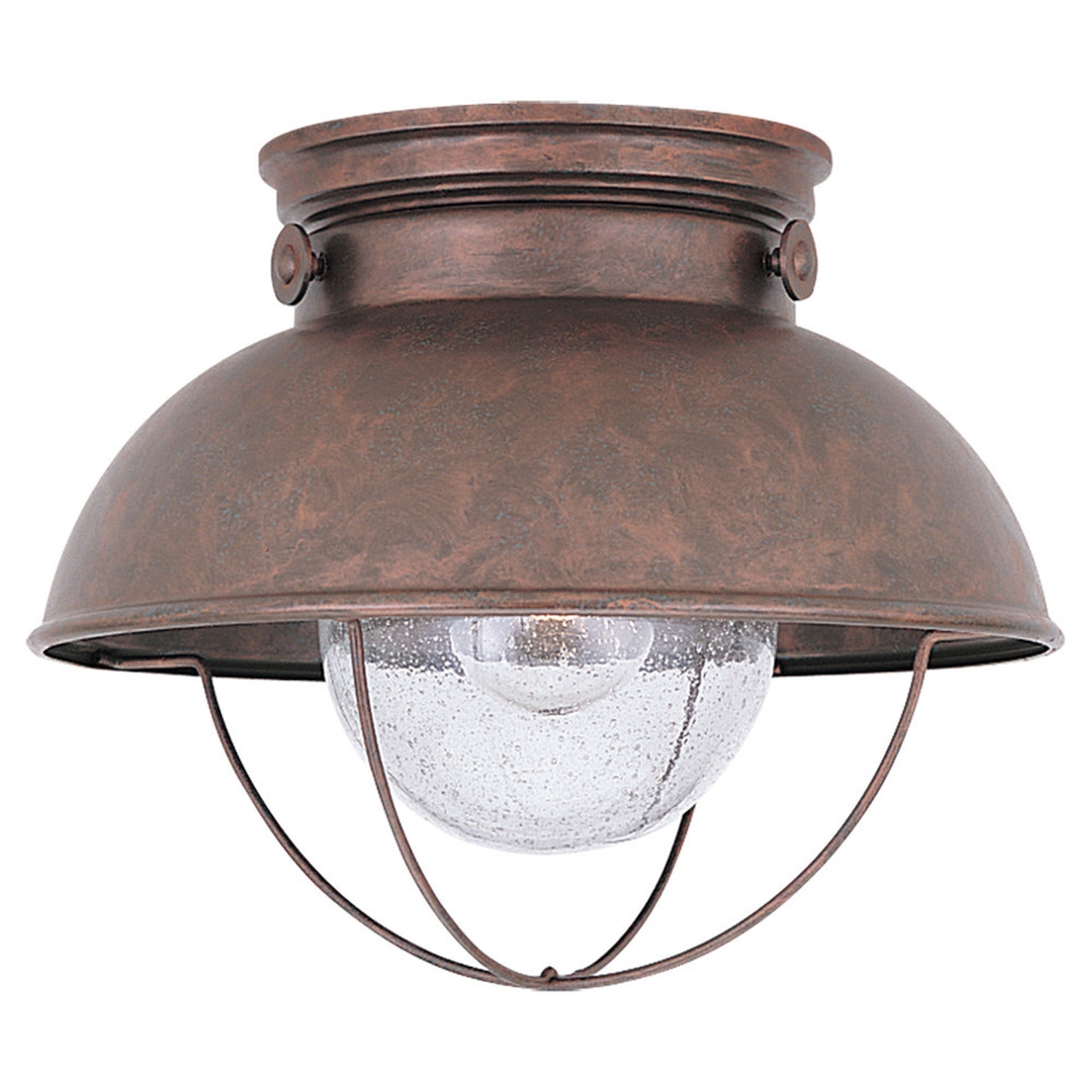 Dusk To Dawn Outdoor Ceiling Lights For Latest Sea Gull Lighting Sebring Weathered Copper Outdoor Ceiling Light (Gallery 7 of 20)