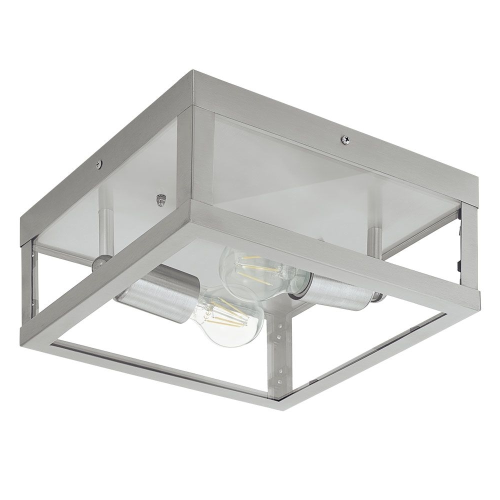 Eglo 94828 Alamonte Stainless Steel Box Frame Wall Light Within Widely Used Stainless Steel Outdoor Ceiling Lights (Gallery 6 of 20)