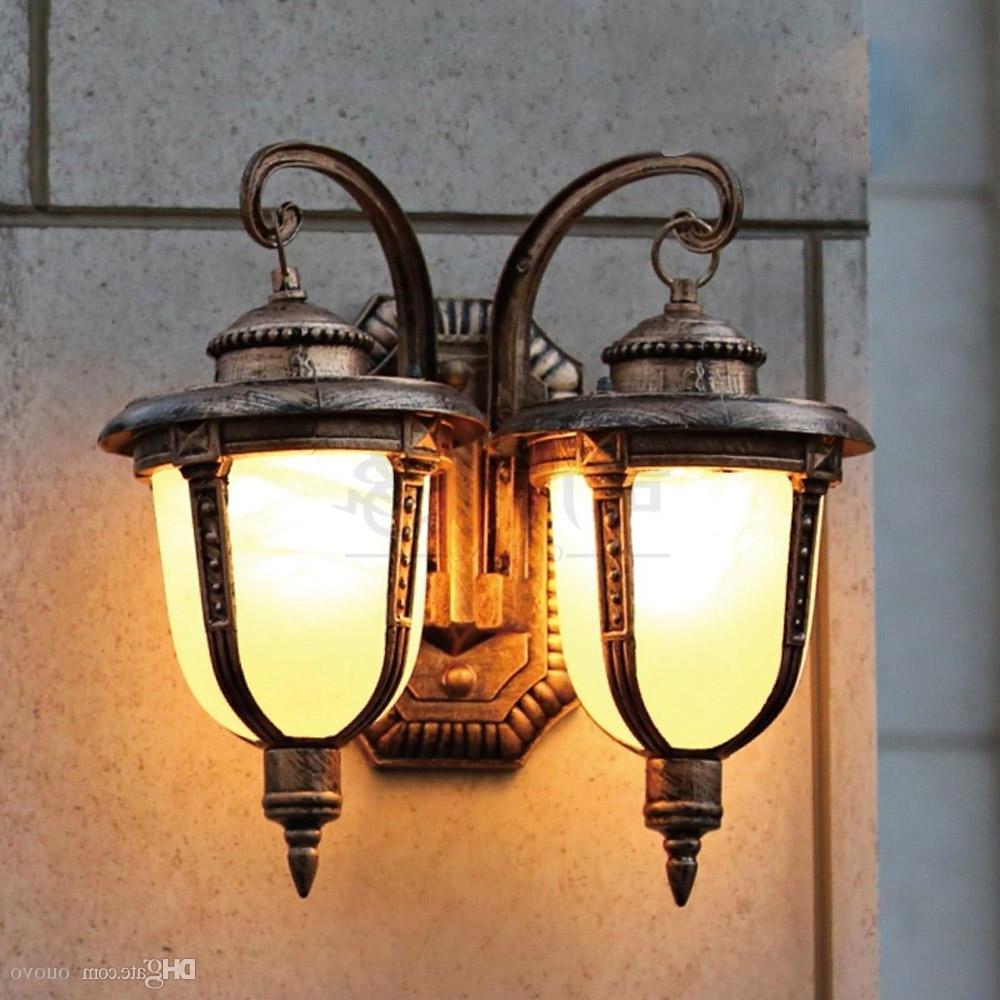 European Double Heads Outdoor Garden Wall Lamps European Villa Pertaining To Trendy European Outdoor Wall Lighting (View 7 of 20)