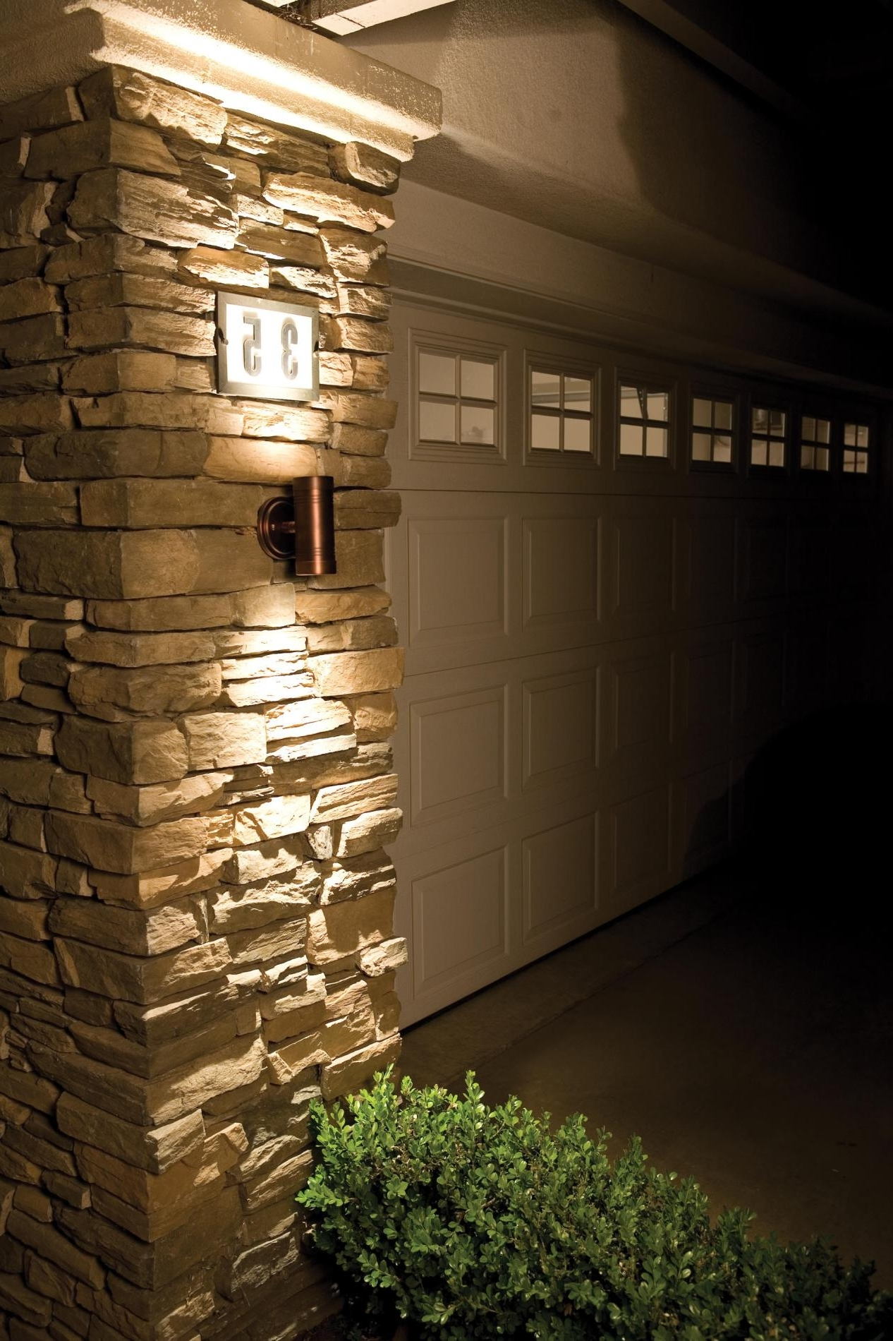 Exterior Wall Stone Cladding House Design With Outdoor Led Wall Within Well Known Outdoor Wall Lights For Houses (View 4 of 20)