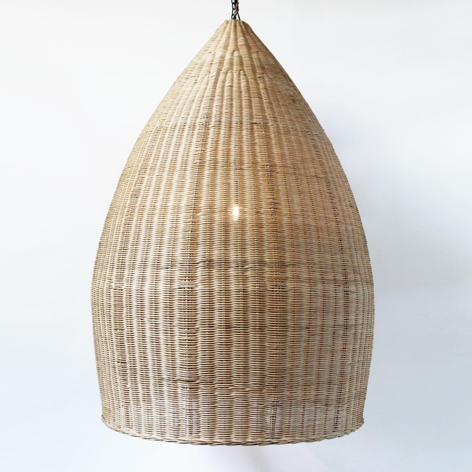 Extra Large Hand Woven Pod Lantern In Natural Raw Rattan (View 6 of 20)