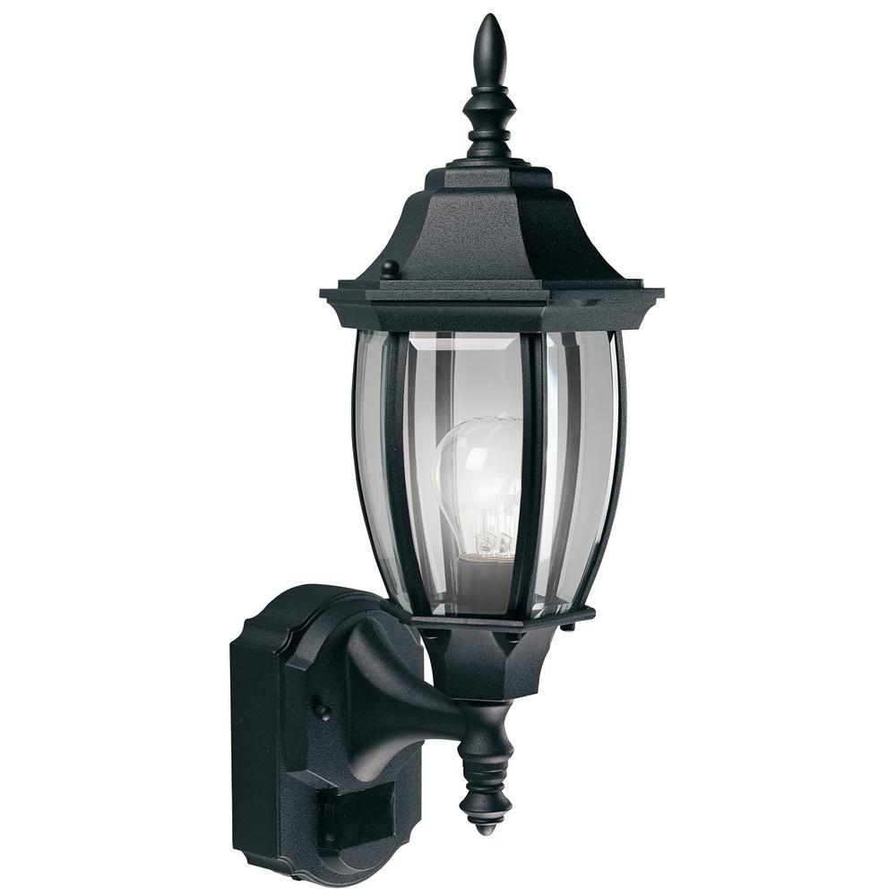 Famous Hampton Bay Alexandria 180 Degree Black Motion Sensing Outdoor Regarding Garden Porch Light Fixtures At Home Depot (View 2 of 20)