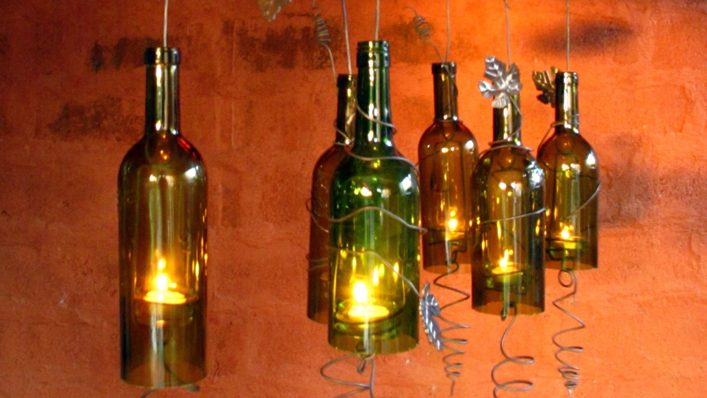 Famous Making Outdoor Hanging Lights From Wine Bottles Within Recycled Wine Bottles Made Into A Hurricane Candle Holder, Diy Video (View 8 of 20)