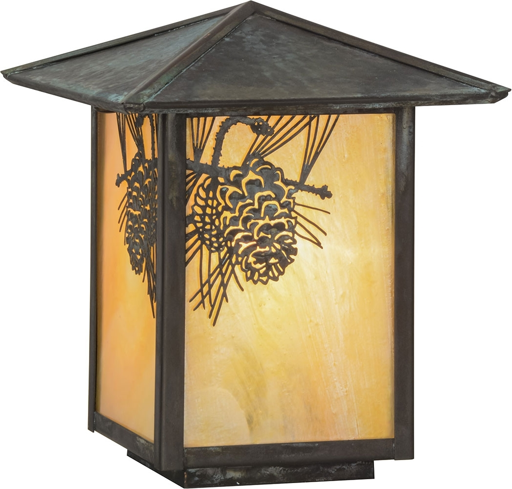 Famous Meyda Tiffany 73549 Winter Pine Rustic Bai Verd Outdoor Lamp Post In Outdoor Wall And Post Lighting (View 3 of 20)
