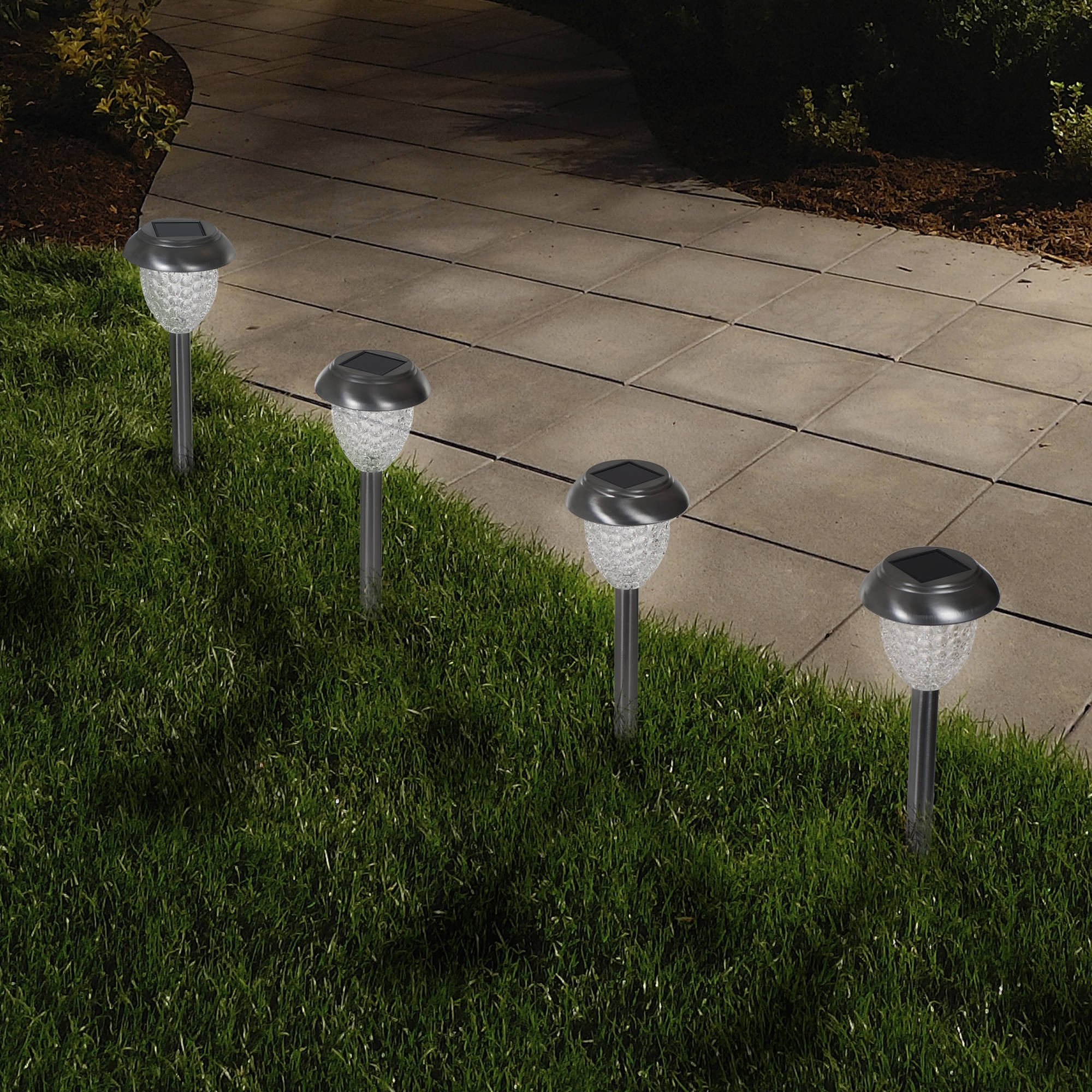 Famous Modern Solar Garden Lights At Wayfair Regarding Solar Powered Glass Lights (set Of 6) Led Outdoor Stake Spotlight (View 13 of 20)