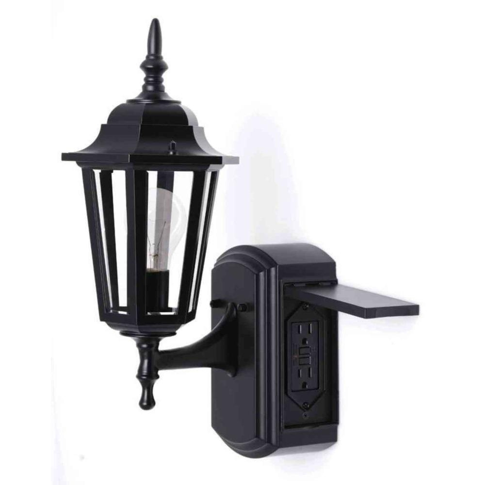 Famous Outdoor Ceiling Light Fixture With Outlet Intended For Outdoor Lighting: Astonishing Porch Light With Outlet Christmas (View 8 of 20)